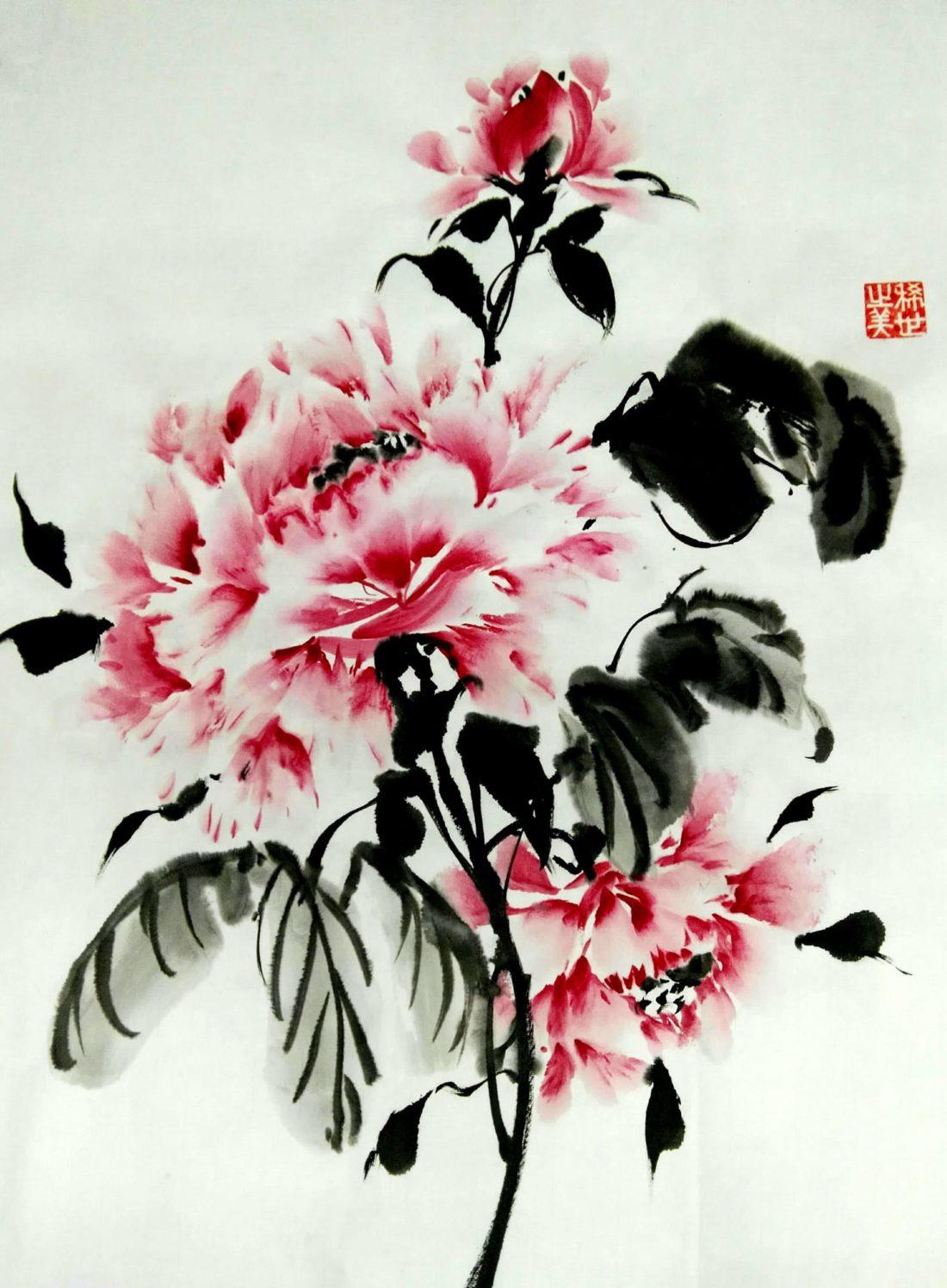 Flor dibujada por Yano Yoro en la técnica del Sumi-e